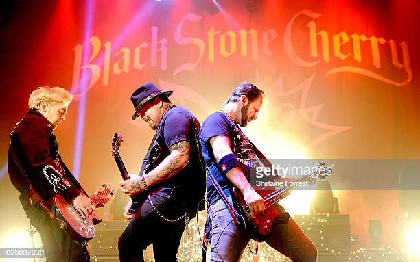Chris Robertson Ben Wells and Jon Lawhon of Black Stone Cherry perform at O2 Apollo Manchester on November 24 2016 in Manchester England