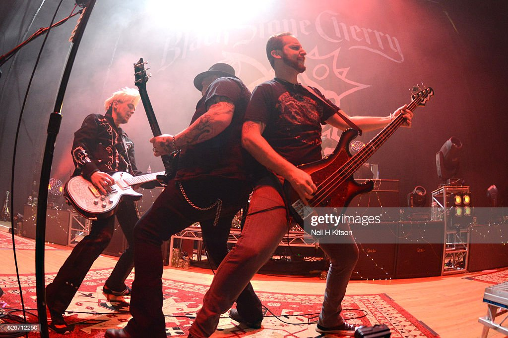 Chris Robertson, John Fred Young, Ben Wells and Jon Lawhon of Black Stone Cherry perform at Sheffield City Hall on November 28, 2016 in Sheffield, England.
