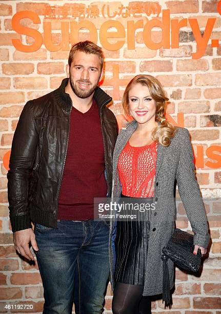 Chris Robshaw and Camila Kerslake wearing Superdry attend the Superdry and British Fashion Council London Collections Men Official Launch Event at...