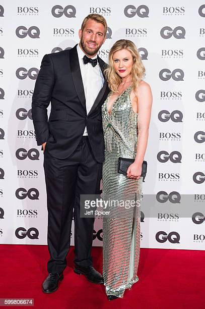 Chris Robshaw and Camilla Kerslake arrive for GQ Men Of The Year Awards 2016 at Tate Modern on September 6 2016 in London England