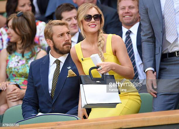 Chris Robshaw and Camilla Kerslake attend day six of the Wimbledon Tennis Championships at Wimbledon on July 4, 2015 in London, England.