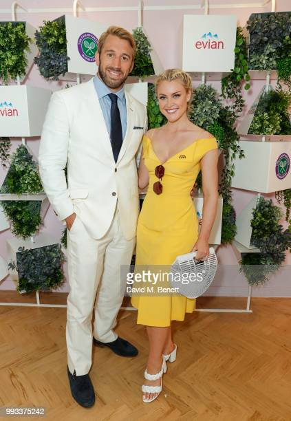Chris Robshaw and Camilla Kerslake attend the evian Live Young Suite at The Championship at Wimbledon on July 7 2018 in London England