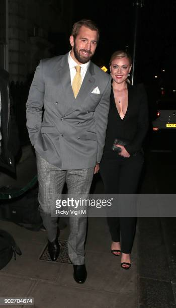 Chris Robshaw and Camilla Kerslake attend the GQ Dinner at Berners Tavern during London Fashion Week Men's January 2018 on January 8, 2018 in London,...
