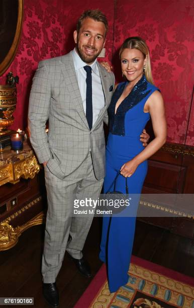 Chris Robshaw and Camilla Kerslake attend the Harper's Bazaar 150th Anniversary Party at William Kent House at The Ritz on May 2 2017 in London...