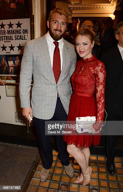 Chris Robshaw and Camilla Kerslake pose in the foyer following the press night performance of 'Great Britain' at the Theatre Royal Haymarket on...