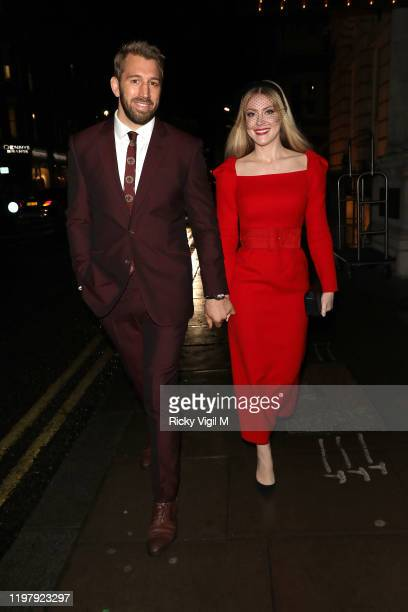 Chris Robshaw and Camilla Kerslake seen attending LFW a/w 2020 GQ Dinner on January 06 2020 in London England