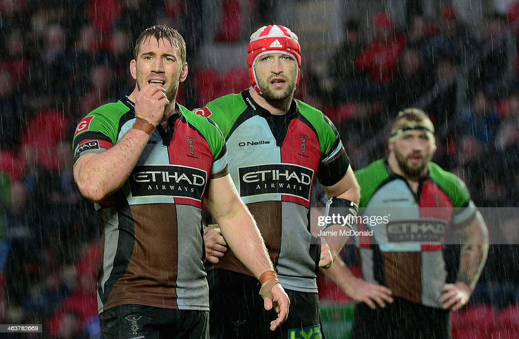 Chris Robshaw (L) and George Robson of Harlequins look on during the Heineken Cup Pool 4 match between Scarlets and Harlequins at Parc y Scarlets on January 19, 2014 in Llanelli, Wales.
