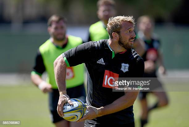 Chris Robshaw back row of Harlequins runs with the ball during a team practice at San Francisco Golden Gate RFC on August 2 2016 in San Francisco...
