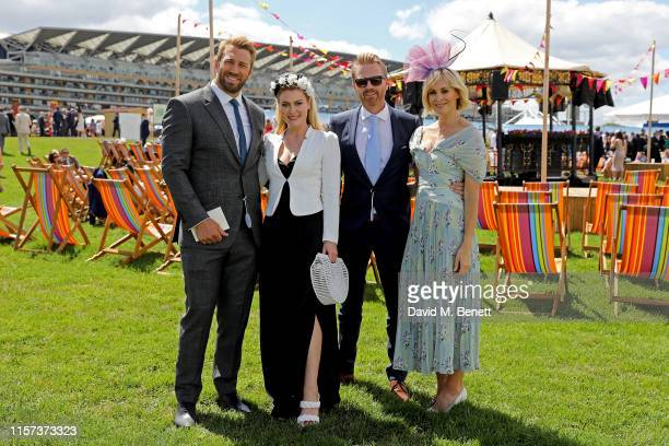 Chris Robshaw Camilla Kerslake James Midgley and Jenni Falconer in the Village Enclosure on day 4 of Royal Ascot at Ascot Racecourse on June 21 2019...