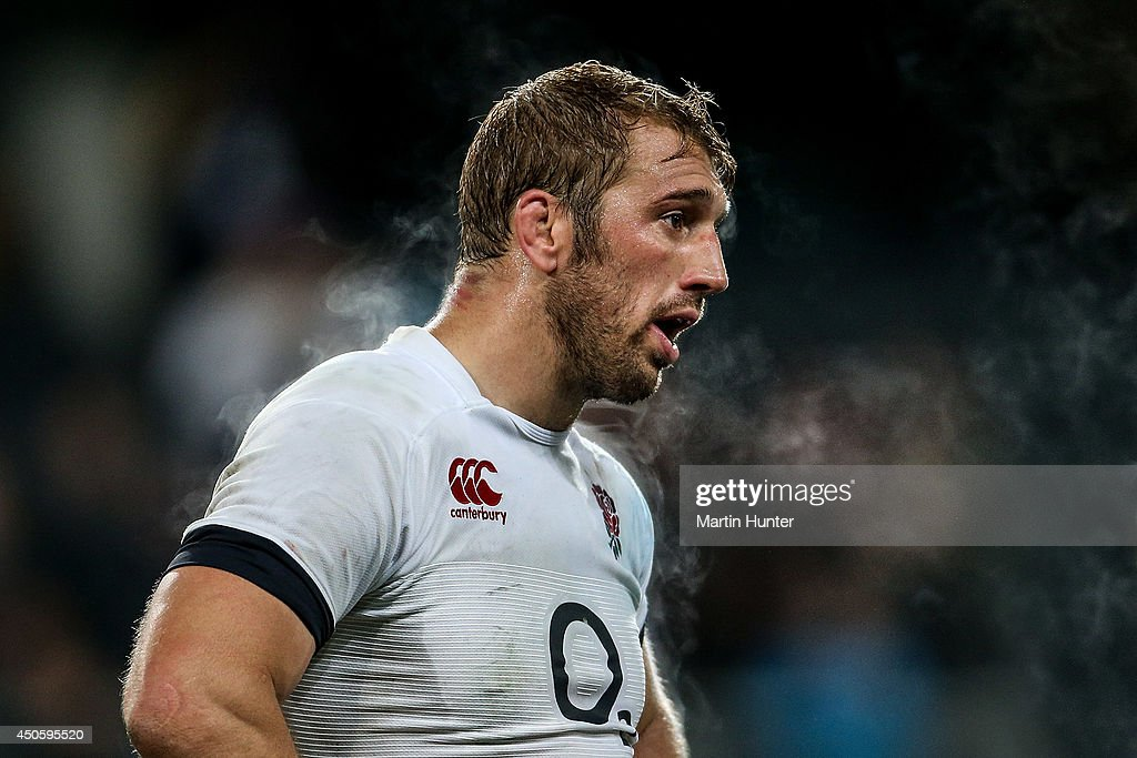 Chris Robshaw, captain of England reacts after the International Test Match between the New Zealand All Blacks and England at Forsyth Barr Stadium on June 14, 2014 in Dunedin, New Zealand.