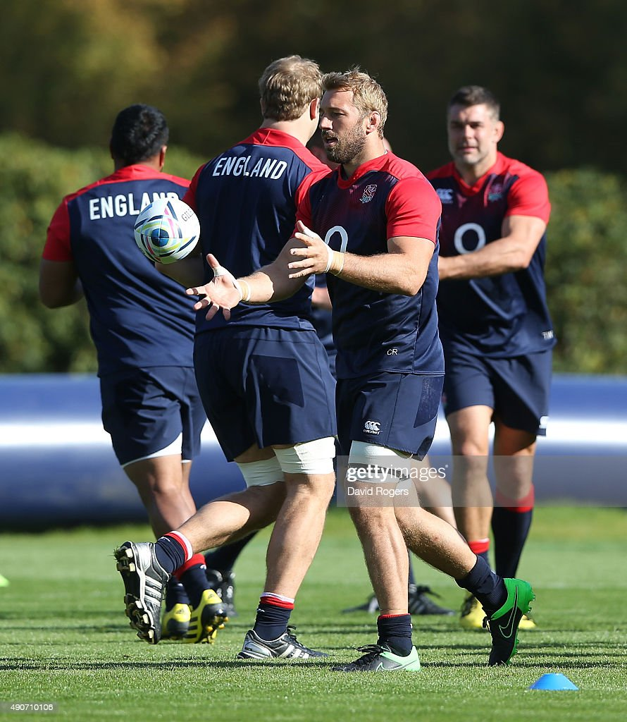 Chris Robshaw catches the ball during the England training session at Pennyhill Park on September 29, 2015 in Bagshot, England.