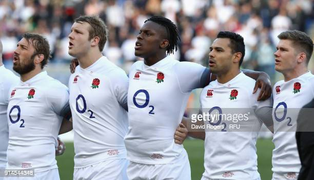 Chris Robshaw Joe Launchbury Maro Itoje Ben Te'o and Owen Farrell of England line up for the anthems during the NatWest Six Nations match between...