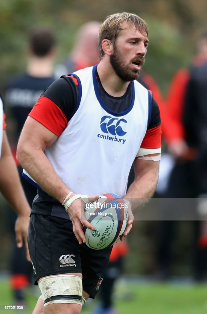 Chris Robshaw looks on during the England training session held at Pennyhill Park on November 21, 2017 in Bagshot, England.