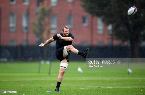 Chris Robshaw of Barbarians kicks the ball during a Barbarians Training session at Latymer Upper School Playing Fields on October 21, 2020 in London,...