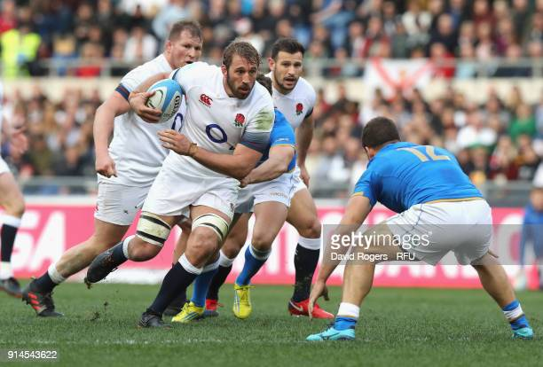 Chris Robshaw of England charges upfield during the NatWest Six Nations match between Italy and England at Stadio Olimpico on February 4 2018 in Rome...