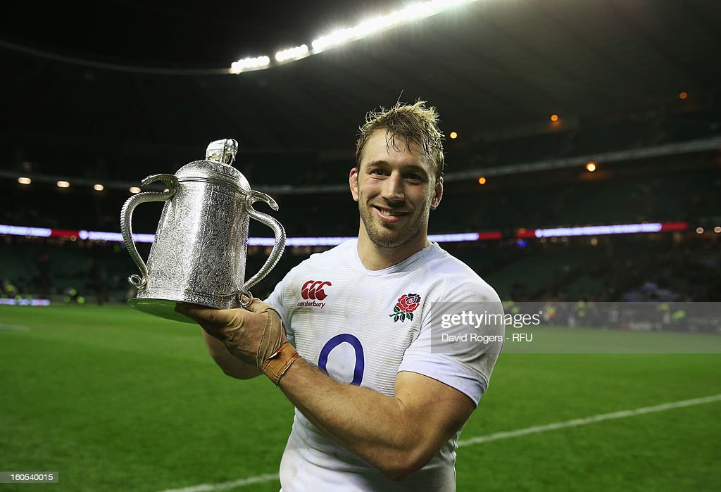 Chris Robshaw of England holds the Calcutta Cup after the RBS Six Nations match between England and Scotland at Twickenham Stadium on February 2, 2013 in London, England.