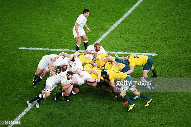Chris Robshaw of England in the scrum during the 2015 Rugby World Cup Pool A match between England and Australia at Twickenham Stadium on October 3...