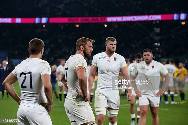 Chris Robshaw of England looks dejected at the end of the match during the 2015 Rugby World Cup Pool A match between England and Australia at...