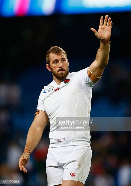 Chris Robshaw of England salutes the fans during the 2015 Rugby World Cup Pool A match between England and Uruguay at Manchester City Stadium on...