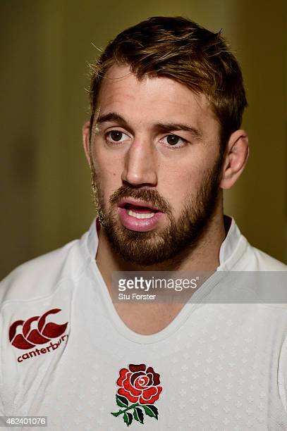 Chris Robshaw of England speaks to the media during the launch of the 2015 RBS Six Nations at the Hurlingham club on January 28 2015 in London England