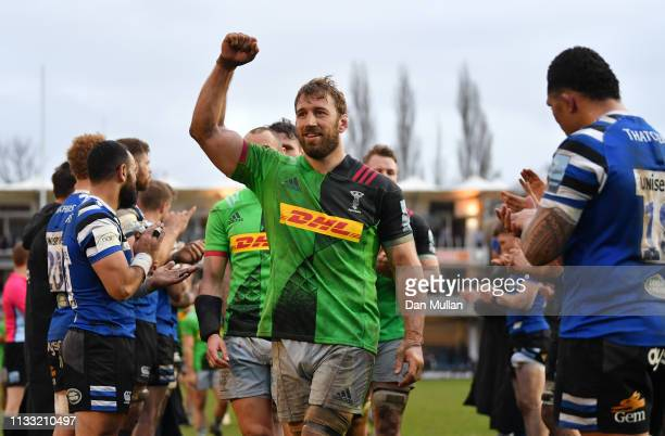 Chris Robshaw of Harlequins celebrates as he leads the team off the field following their victory during the Gallagher Premiership Rugby match...