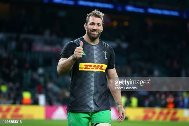 Chris Robshaw of Harlequins gives a thumbs up following the Gallagher Premiership Rugby Big Game 12 match between Harlequins and Leicester Tigers at...