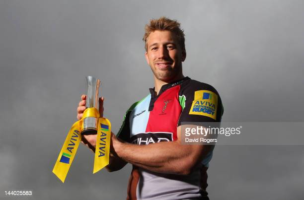 Chris Robshaw of Harlequins poses with the Aviva Premiership Rugby Player of the Season trophy at the Harlequins training ground on May 03, 2012 in...