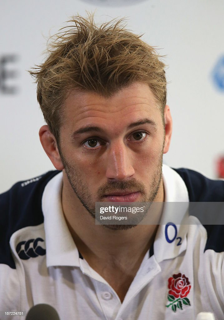 Chris Robshaw, the England captain faces the media at a conference held after the England captain's run at Twickenham Stadium on November 30, 2012 in London, England.