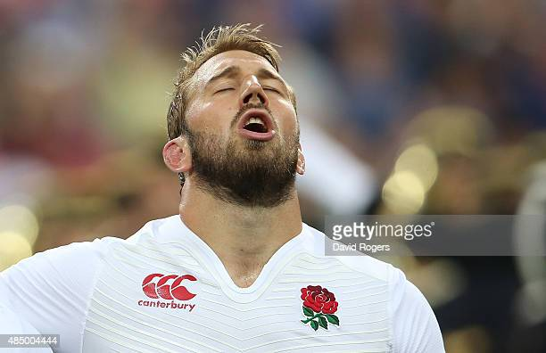 Chris Robshaw, the England captain, sings the anthem during the International match between France and England at Stade de France on August 22, 2015...