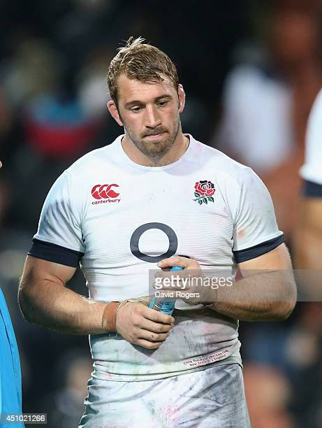 Chris Robshaw the England captain walks off the pitch after their defeat during the International Test match between the New Zealand All Blacks and...