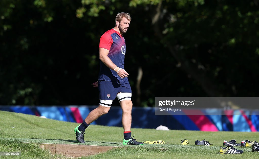Chris Robshaw, the England captain, walks onto the pitch during the England training session at Pennyhill Park on September 29, 2015 in Bagshot, England.