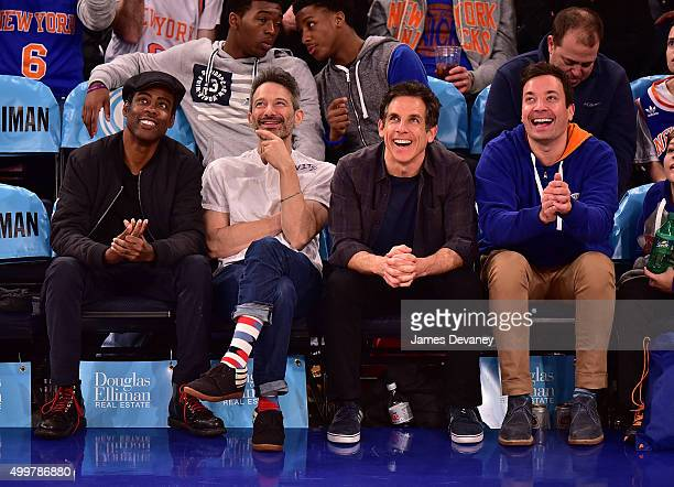 Chris Rock Adam Horovitz Ben Stiller and Jimmy Fallon attend Philadelphia 76ers vs New York Knicks game at Madison Square Garden on December 2 2015...