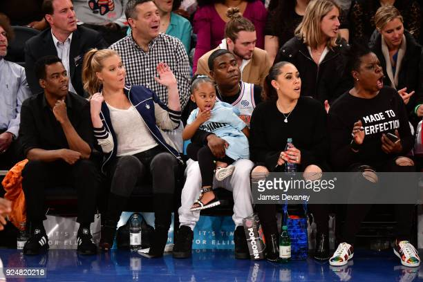 Chris Rock Amy Schumer Tracy Morgan Maven Morgan Megan Wollover and Leslie Jones attend the New York Knicks Vs Golden State Warriors game at Madison...