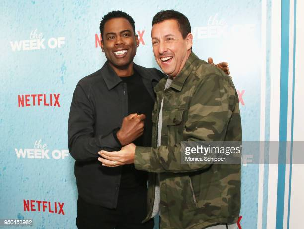 Chris Rock and Adam Sandler attend the World Premiere of the Netflix film 'The Week Of' at AMC Loews Lincoln Square 13 on April 23 2018 in New York...