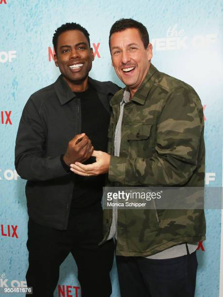 Chris Rock and Adam Sandler attend the World Premiere of the Netflix film The Week Of at AMC Loews Lincoln Square 13 on April 23 2018 in New York City