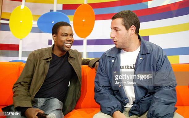 Chris Rock and Adam Sandler during Chris Rock and Adam Sandler Visit BET's '106 Park' May 26 2005 at CBS Studios in New York City New York United...