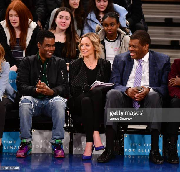 Chris Rock and Bernard King attend New York Knicks Vs Milwaukee Bucks game at Madison Square Garden on April 7 2018 in New York City