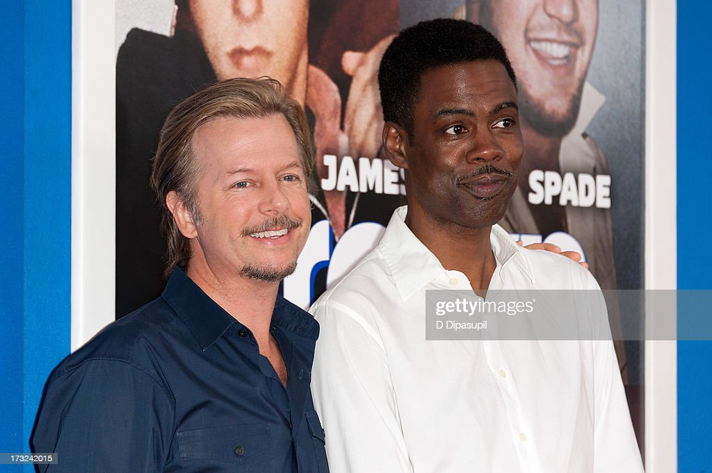 Chris Rock (R) and David Spade attend the 'Grown Ups 2' New York Premiere at AMC Lincoln Square Theater on July 10, 2013 in New York City.