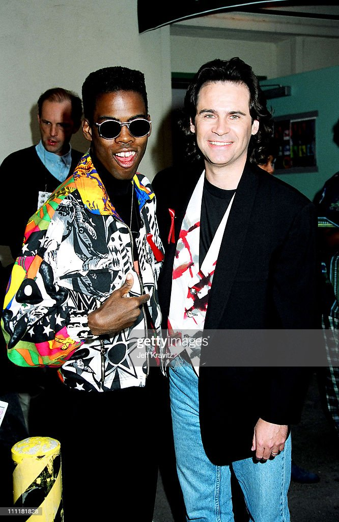Chris Rock and Dennis Miller during 1992 MTV Movie Awards at Culver Studios in Culver City, California, United States.