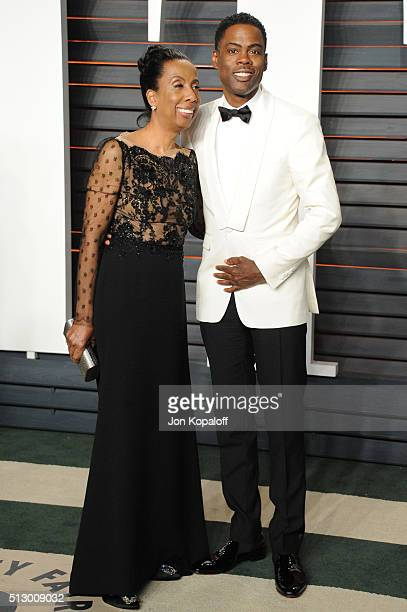 Chris Rock and guest attend the 2016 Vanity Fair Oscar Party hosted By Graydon Carter at Wallis Annenberg Center for the Performing Arts on February...