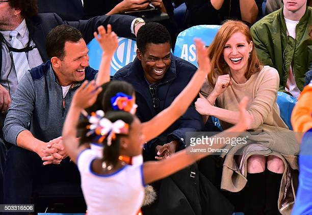 Chris Rock and Jessica Chastain attend the Atlanta Hawks vs New York Knicks game at Madison Square Garden on January 3 2016 in New York City
