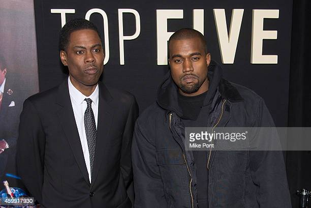 Chris Rock and Kanye West attend the 'Top Five' New York Premiere at Ziegfeld Theater on December 3 2014 in New York City