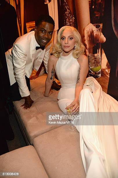 Chris Rock and Lady Gaga attend the 2016 Vanity Fair Oscar Party Hosted By Graydon Carter at the Wallis Annenberg Center for the Performing Arts on...