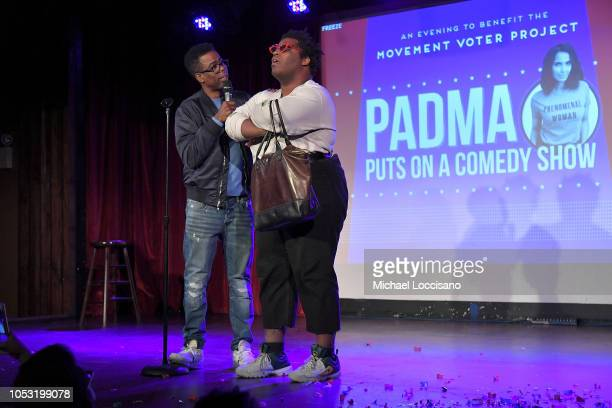 Chris Rock and Larry Owens perform during the the Movement Voter Project comedy benefit at The Bell House on October 24 2018 in the Brooklyn borough...