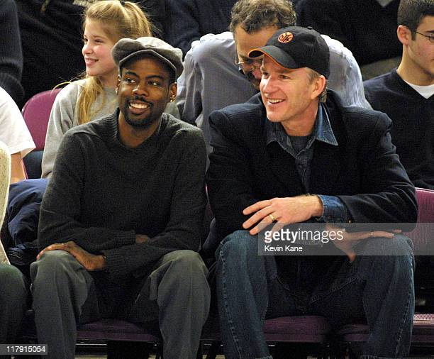 Chris Rock and Matthew Modine attend a NY Knicks game