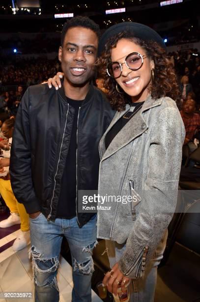 Chris Rock and Megalyn Echikunwoke attend the 67th NBA AllStar Game Team LeBron Vs Team Stephen at Staples Center on February 18 2018 in Los Angeles...
