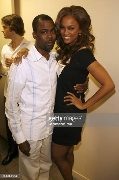 Chris Rock and Tyra Banks during CW Launch Party Inside at WB Main Lot in Burbank California United States