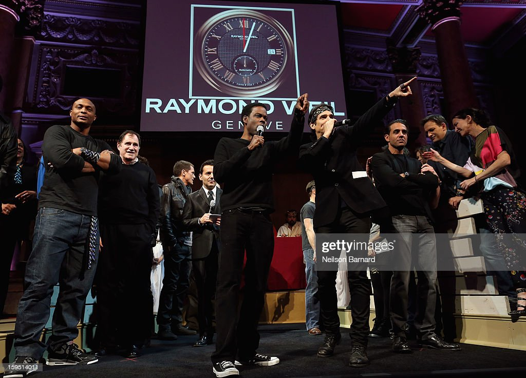 Chris Rock and Yul Vazquez (C) onstage at LAByrinth Theater Company Celebrity Charades 2013 Benefit Gala at Capitale on January 14, 2013 in New York City.
