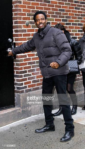 Chris Rock arrives for the Late Show With David Letterman at the Ed Sullivan Theater on March 31 2011 in New York City