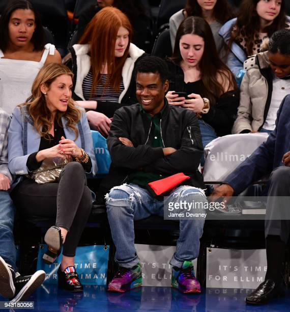 Chris Rock attends New York Knicks Vs Milwaukee Bucks game at Madison Square Garden on April 7 2018 in New York City